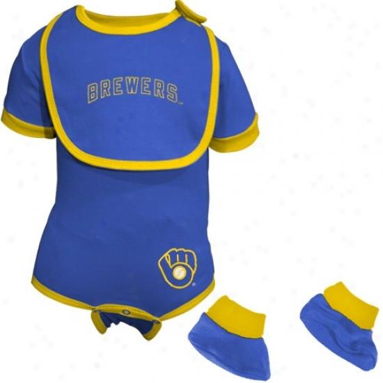 Milwaukee Brewers Light Blue Infant Baseball Bib & Booties Prescribe