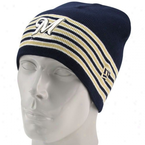 Milwaukee Brewers Merchandise: New Era Milwaukee Brewers Navy Blue Five Stripe Knit Beanie