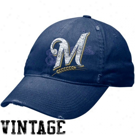 Milwqukee Brewers Merchandise: Nike Milwaukee Brewers Navy Blue Stacked Up Heritage 86 Unisex Adjustable Hat