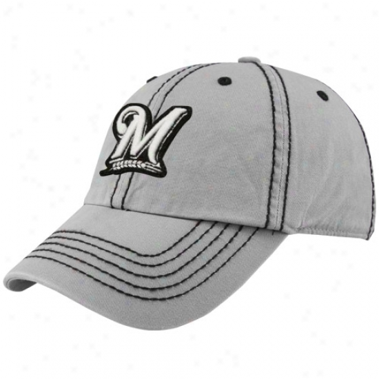 Milwaukee Brewers Merchandise: Twins '47 Milwaukee Brewers Gray Patton Franchise Fitted Hat