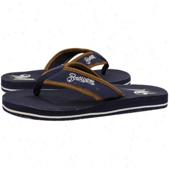 Milwaukee Brewers Navy Blue Contoured Flip Flops