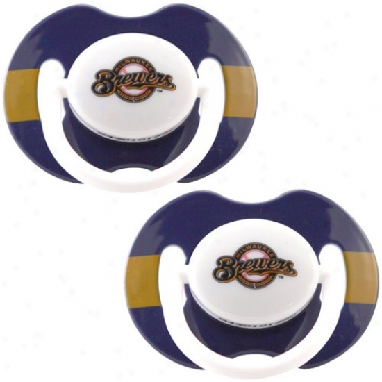 Milwaukee Brewers  Navy Blue-gold Striped 2-pack Team Logo Pacifiers