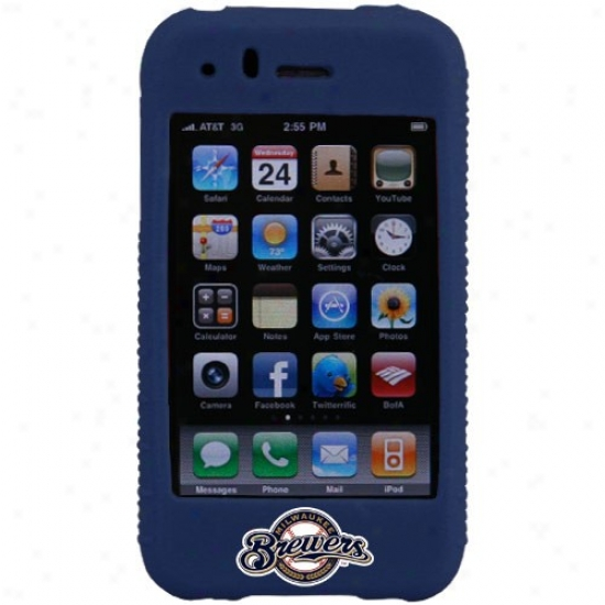Milwaukee Brewers Navy Pedantic  Mlb Silicone Iphone Cover