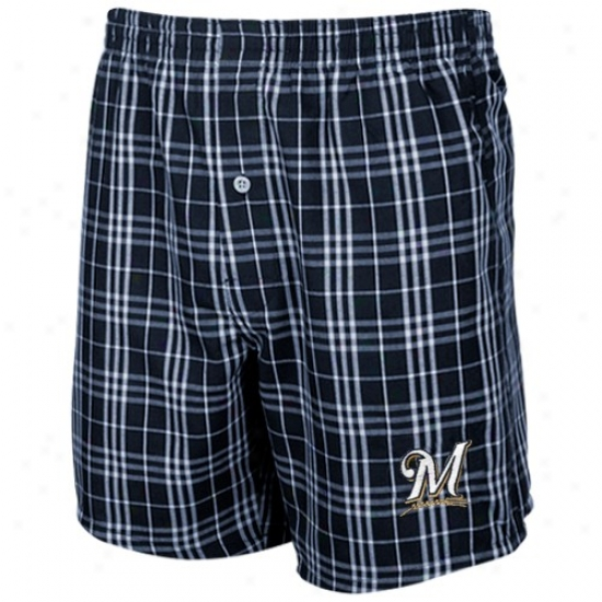 Milwaukee Brewers Navy Blue Plaid Event Boxer Shorts