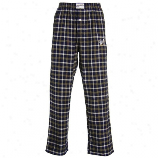 Milwaukee Brewers Navy Blue Tailgate Plaid Pajama Pants