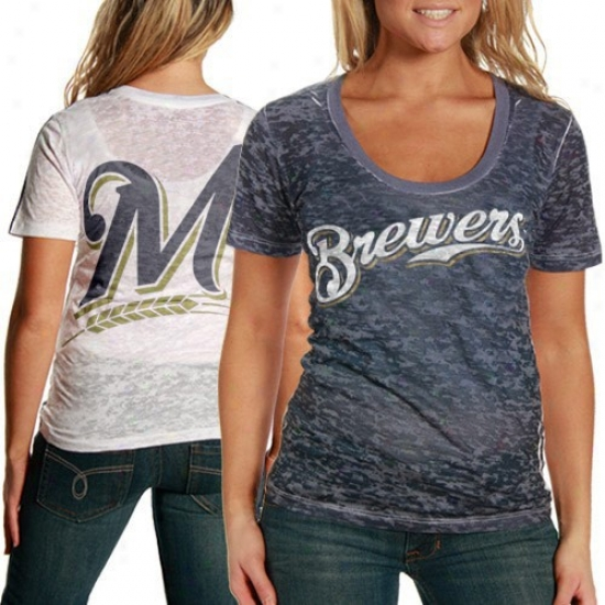Milwaukee Brewers Shirt : Touch By Alyesa Milano Milwaukee Brewers Navy Blue-white Superfan Sublimated Sheer Burnout Annual rate  Shirt