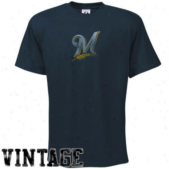 Milwauker Brewers Shirts : Splendid Milwaukee Brewers Navy Blue Fashion Fit Shirts