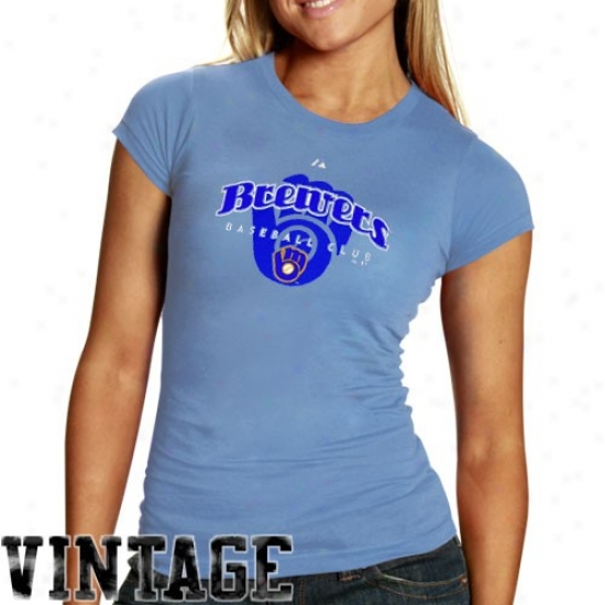 Milwaukee Brewers Shirts : Majestic Milwaukee Brewers Ladies Light Azure Cooperstown Circus Catch Shirts