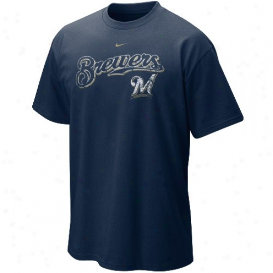 Milwaukee Brewers Sjirts : Nike Milwaukee Brewers Navy Blue Outta The Park Shirts