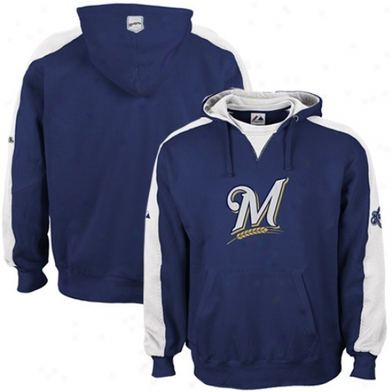 Milwaukee Brewers Sweat Shirt : Majestic Milwaukee Brewers Navy Blue Shaman Sweat Shirt
