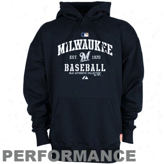 Milwaukee Brewers Sweatshirts : Majestic Milwaukee Brewers Navy Blue Ac Classic Therma Base Performance Sweatshirts