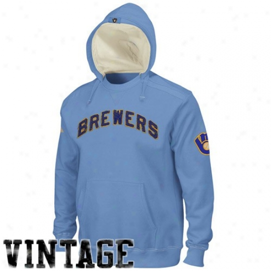 Milwaukee Brewers Sweatshirts : Majestic Milwaukee Brewers Light Blue Cooperstown Conquest Sweatshirts