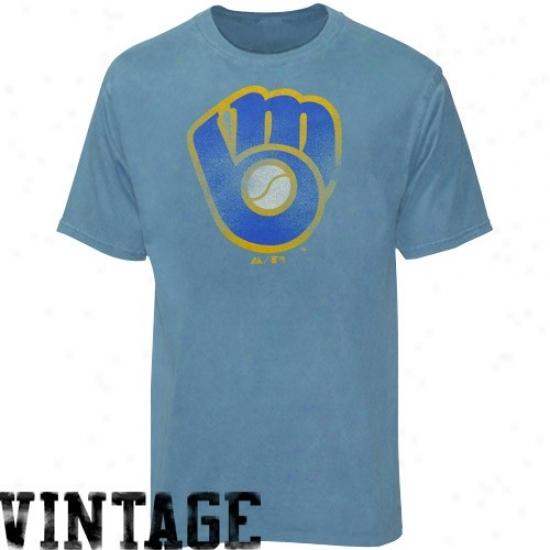 Milwaukee Brewerss T Shirt : Majestic Milwaukee Brewers Heather Light Blue Cooperstown Big Time Play T Shirt