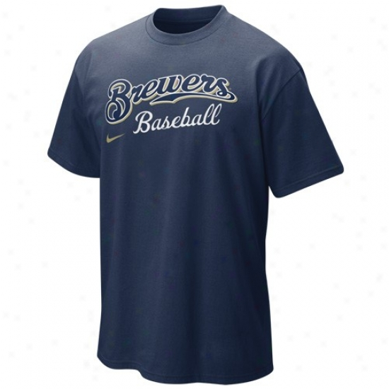Milwaukee Brewers T Shirt : Nike Milwaukee Brewers Youth Navy Blue Mlb 2010 Practice T Shirt