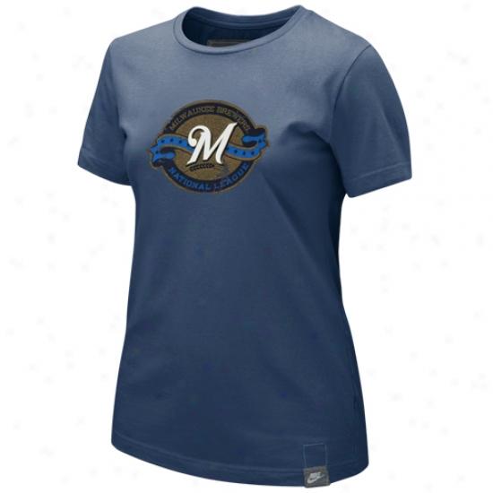 Milwaukee Brewers T Shirt : Nike Mulwaukee Brewers Ladiex Navy Blue Pickin Daisies Washed Organic T Shirt
