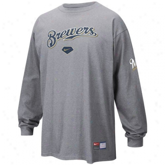 Milwaukee Brewers T Shirt : Nike Milwaukee Brewers Ash Practice Protracted Sleeve T Shirt