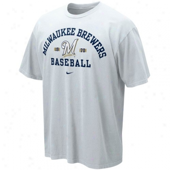 Milwaukee Brewers T-shirt : Nike Milwaukee Brewers White Safety Squeeze T-shirt