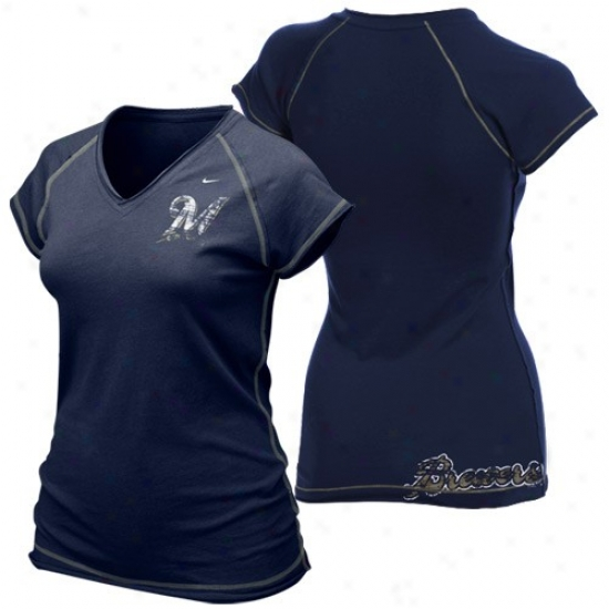 Milwaukee Brewers T-shirt : Nike Milwaukee Brewers Ladies Navy Blue Bases Loaded V-neck T-shift