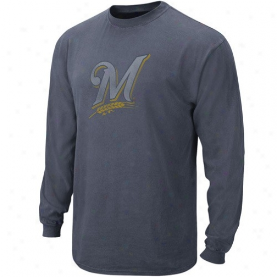 Milwaukee Brewers Tees : Majestic Milwaukee Brewers Heather Azure Big Time Play Long Sleeve Tees