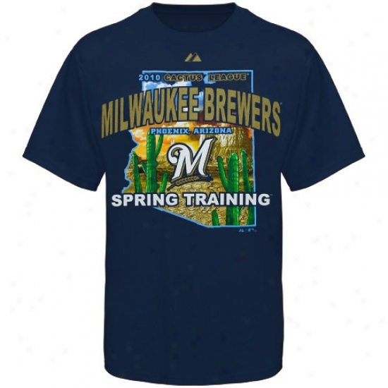 Milwaukee Brewers Tees : Majestic Milwaukee Brewers Navy Blue State Scene 2010 Cactus League Tees