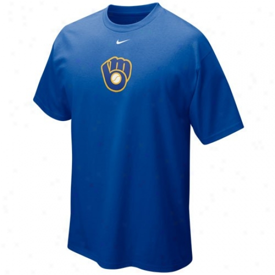 Milwaukee Brewers Tees : Nike Milwaukee Brewers Royal Blue Hanging Curve Tees