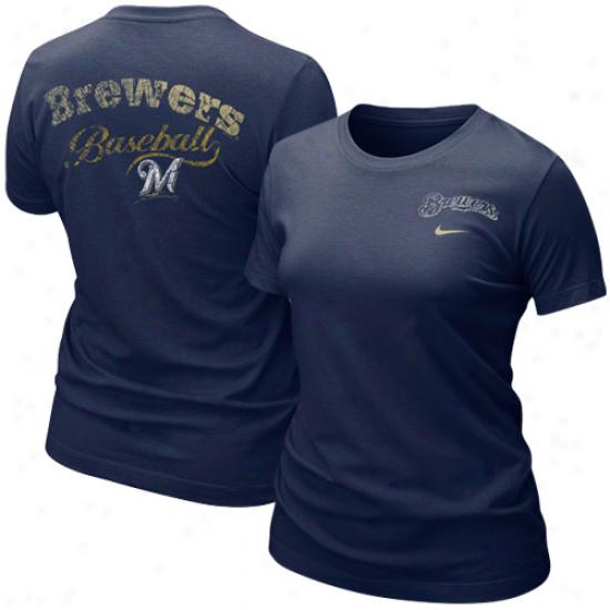Milwaukee Brewers Tees : Nike Milwaukee Brewers Ladies Navy Blue Graphic Tri-blend Tees