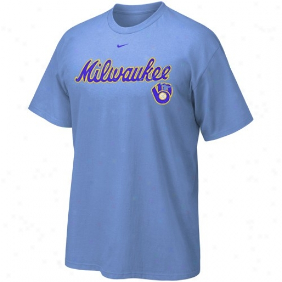 Milwaukee Brewers Tshirts : Nike Milwaukee Brewers Light Blue Outt The Park Tshirts