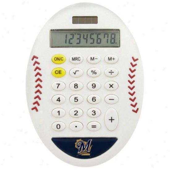 Milwaukee Brewers White Baseball Pro-grip Calculator