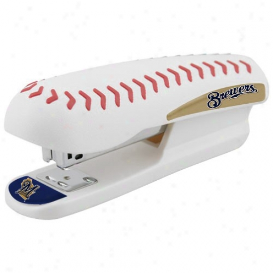 Milwaukee Brewers White Pro-grip Baseball Stapler