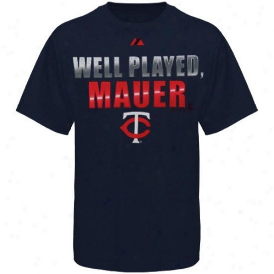 ... : Majestic Minnesota Twins Youth Navy Blue Well Played Mauer T-shirt