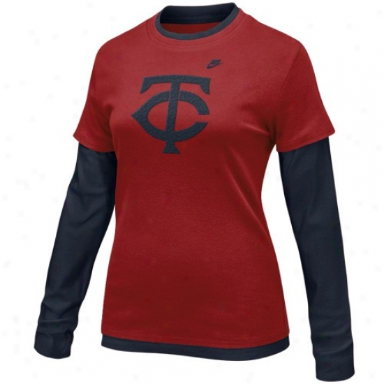 Minnesota Twins Attire: Nike Minnesota Twins Ladies Red-navy Blue Coopersgown Layered Long Sleeve T-shirt
