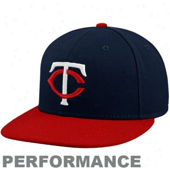 Minnesota Twins Cap : New Era Minnesota Twins Navy Blue-red Official On-field Performance Fitted Cap