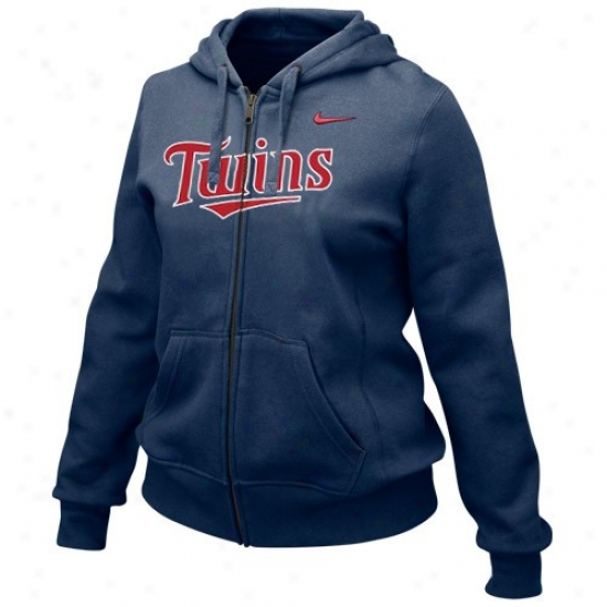 Minnesota Twins Fleece : Nike Minnesota Twins Ladies Navy Blue Into Sezms Flul Zip Fleece