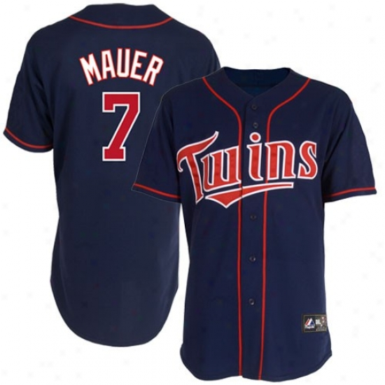 Minnesota Twins Jersey : Majestic Minnesota Twins #7 Joe Mauer Navy Blue Replica Baseball Jersey