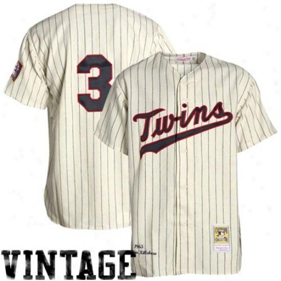 Minnesota Twins Jersey : Mitchell & Ness Minnesota Twins #3 Harmon Killebrew White Pinstripe 1965 Auhyentic Baseball Jersey