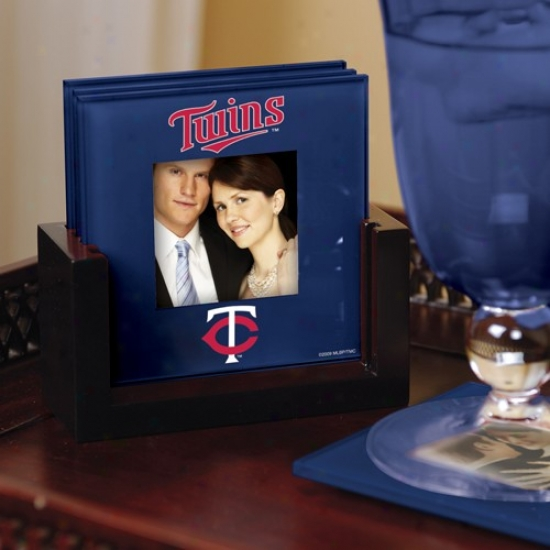 Minnesota Twins Navy Blue 4-pack Photo Coaster Set