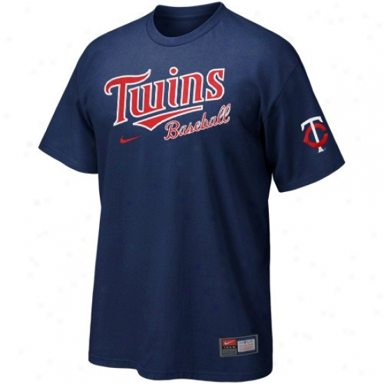 Minnesota Twins Shirt : Nike Minnesota Twins Navy Blue Mlb 2010 Actions Shirt