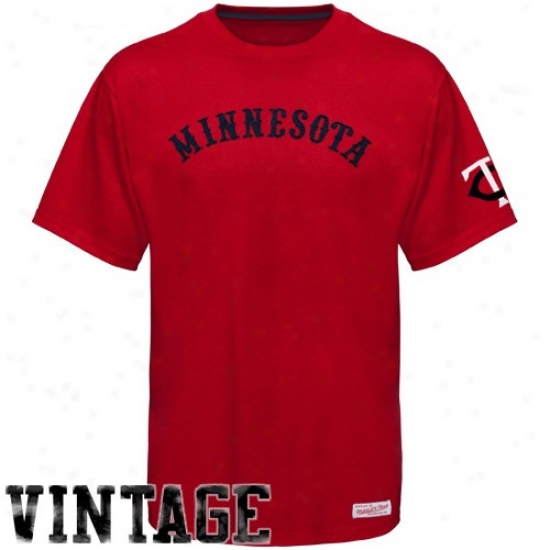 Miinnesota Twins Shirts : Mitchell & Ness Minnesota Twins Red 1940 Thrlwback Vintage Sgirts
