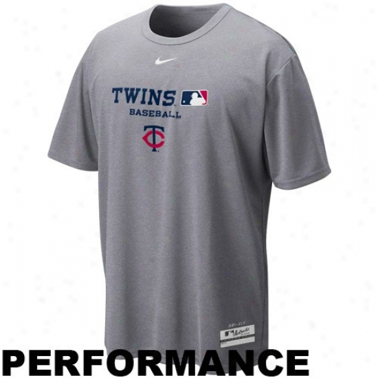 Minnesota Twins T-shirt : Nike Minnesota Twins Ash Nikefit Team Issue Performance T-shirt