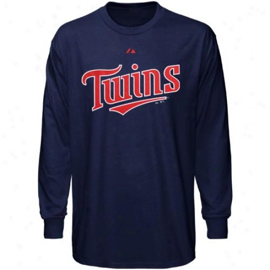 Minnesota Twins Tees : Majestic Minnesota Twins Navy Blue Wordmark Long Sleeve Tees