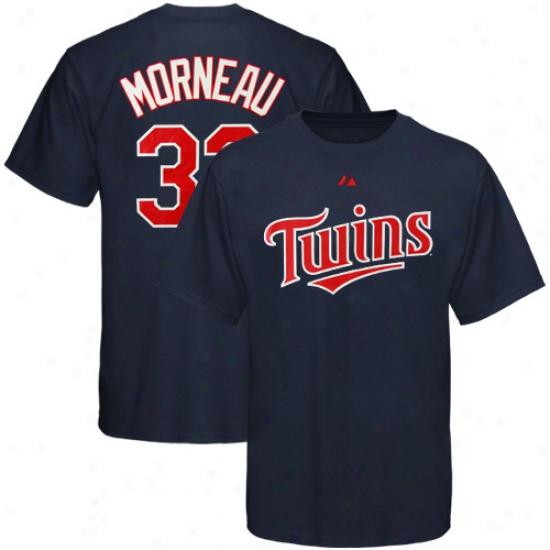 Minnesota Twins Tshirt : Majestic Minnesota Twins #33 Justin Morneau Youth Navy Blue Player Tshirt