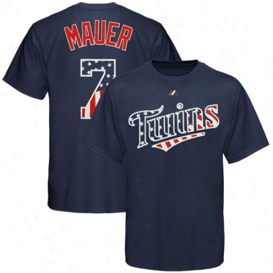 Minnesota Twins Tshirts : Majestic Minnesota Twins #7 Joe Mauer Navy Blue Stars & Stripes Player Tshirts