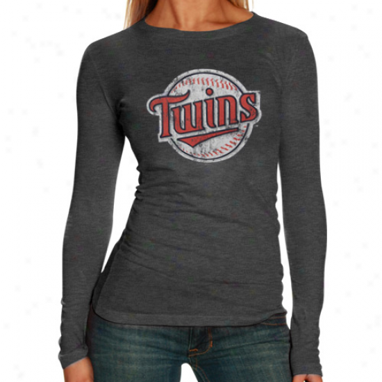 Minnesota Twins Tshirts : Minnesota Twins Ladies Charcoal Distressed Logo Tri-blend Long Sieeve Tshirts