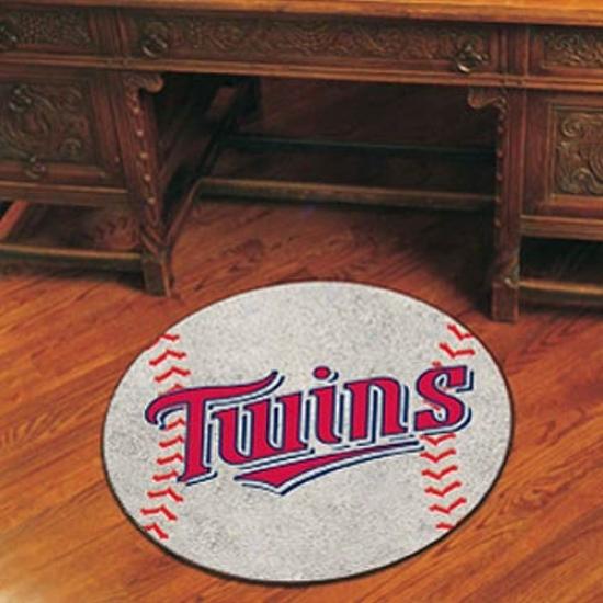 Minnesota Twinw White Round Baseball Mat