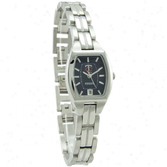 Minnesota Twins Wrist Watch : Fossil Minnesota Twins Ladies Stainless Steep Cushion Wrist Watch