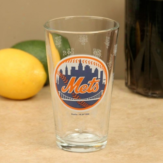 New York Mets 16oz. Satin Etch Pint Glass