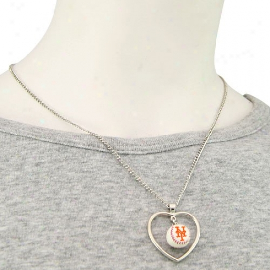 New York Mets 3d Baseball Heart Pendant Necklace