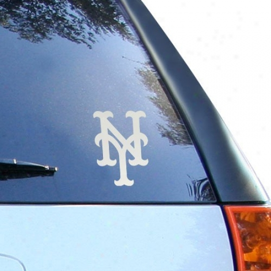 New York Mets 5'' X 6'' Silver Window Graphic Decal