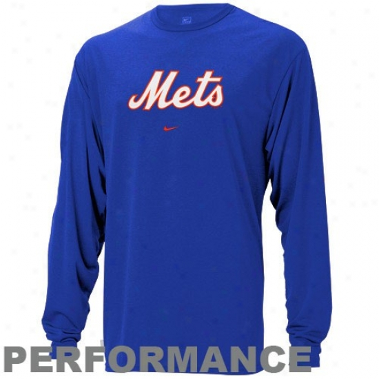 New York Mets Apparel: Nike New York Mets Royal Blue Mlb Performance Long Sleeve Training Top
