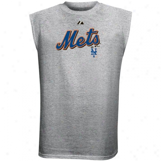 New York Mets Attire: Majestic New York Mets Youth Ash Series Sweep Sleeveless T-shirt